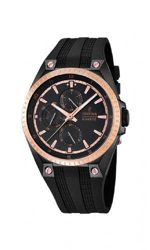 F16837/1 Festina Mens Rose Gold Plated Black Rubber Strap Watch